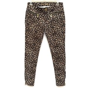 Michael Kors Leopard Print Zipper Skinny Jeans
